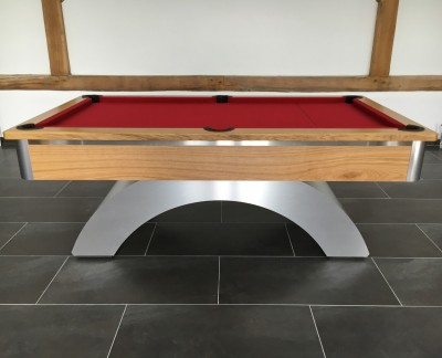Arched Contemporary English Pool Table - Brushed Aluminium and Oak