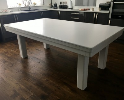 Pool Dining Table - 7ft White / Silver
