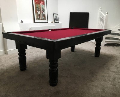 Pool Dining Table - 8ft Black / Red