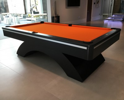 Olhausen Waterfall Pool Table in Black with Orange Cloth