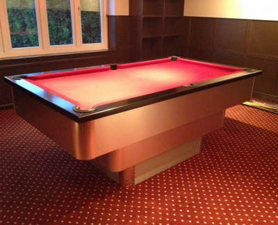 Tiered Contemporary English Pool Table - Burgundy Cloth