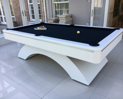 Olhausen Waterfall Pool Table in White with Brushed Aluminium Strip