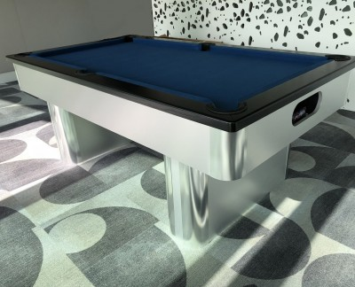 Pedestal Contemporary English Pool Table - Slate Cloth