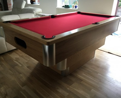 Tiered Contemporary English Pool Table - Aluminium & Oak