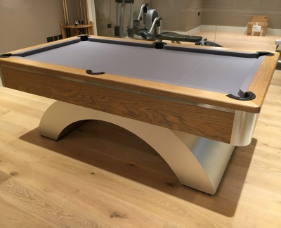 Arched Contemporary English Pool Table - Oak & Brushed Aluminium
