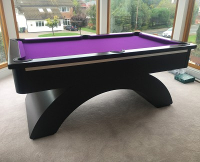 Arched Contemporary English 6ft Pool Table - Black / Purple