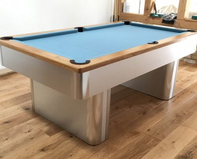 Pedestal Contemporary English Pool Table - Powder Blue Cloth