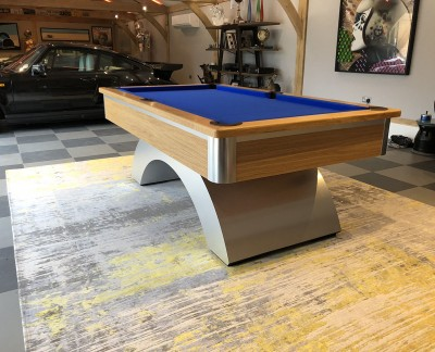 Arched Contemporary English Pool Table - Brushed Aluminium / Oak