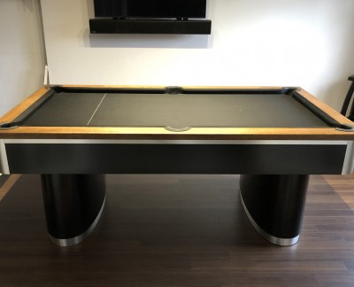 Oval Pedestal Contemporary English Pool Table - Black Cloth