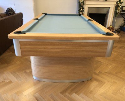 Oval Pedestal Contemporary English Pool Table - Powder Blue Cloth