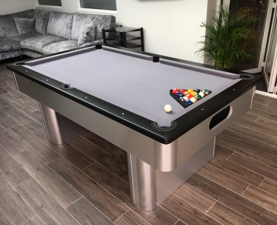 Pedestal Contemporary English Pool Table - Black Cushion Rail