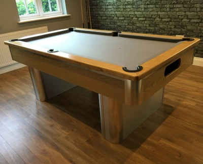 Pedestal Contemporary English Pool Table - Oak and Brushed Aluminium