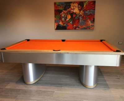 Oval Pedestal Contemporary English Pool Table - Orange Cloth