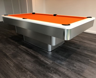 Olhausen Maxim Pool Table - Brushed Aluminium and Orange Cloth