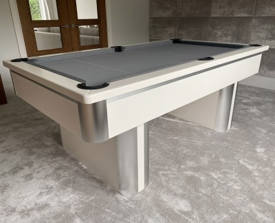 Pedestal Contemporary English Pool Table - White and Brushed Aluminium