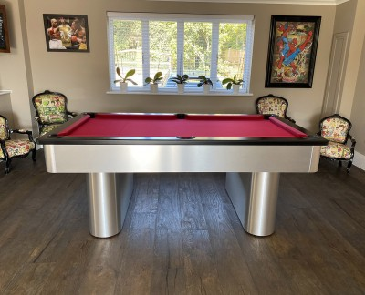 Pedestal Contemporary English Pool Table - Brushed Aluminium Finish