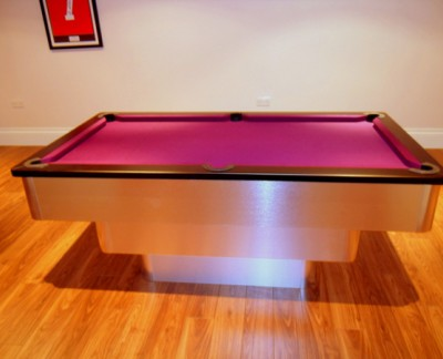 Tiered Contemporary English Pool Table - Black Cushion Rail
