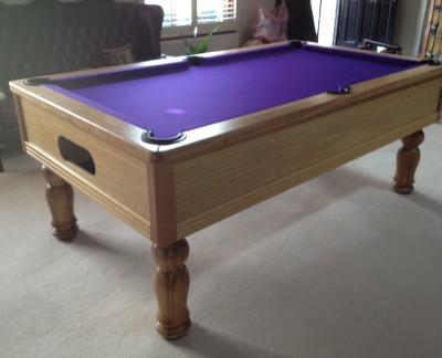 Emperor English Pool Table in Oak with Purple Cloth
