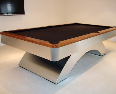 Olhausen Waterfall Pool Table Brushed Aluminium Oak Cushion Rail