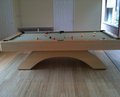Olhausen Waterfall Pool Table in Wood Finish with Sage Cloth