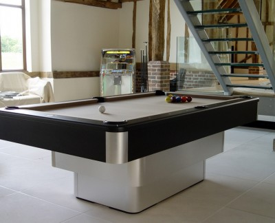 Olhausen Maxim Pool Table in Brushed Aluminium / Black Finish