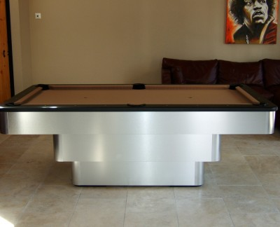 Olhausen Maxim Pool Table in Brushed Aluminium with Camel Cloth