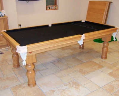 Snooker Dining Table - Oak / Black Cloth