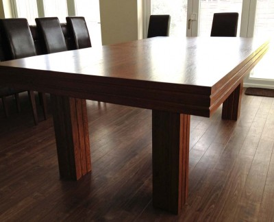 Pool Dining Tables - 7ft in Oak / Blue