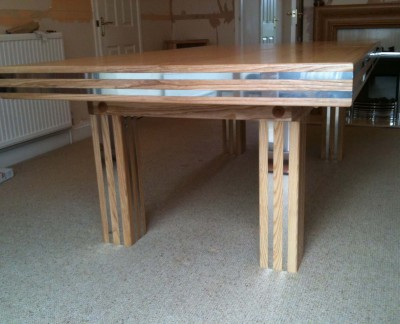 Pool Dining Table with Chrome Inserts