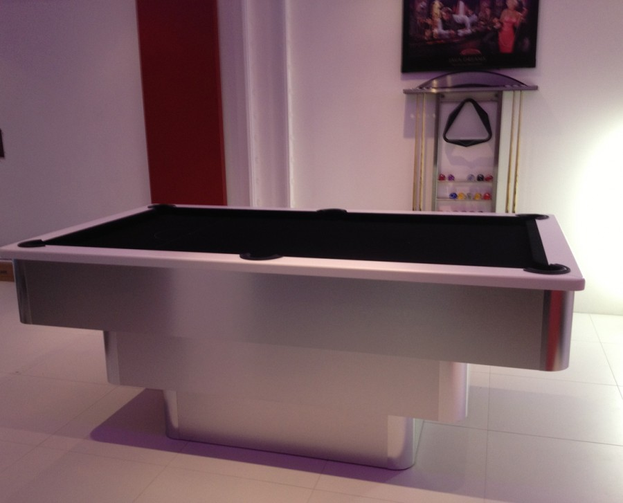 Tiered-Contemporary English Pool Table - White Cushion Rail and Black Cloth