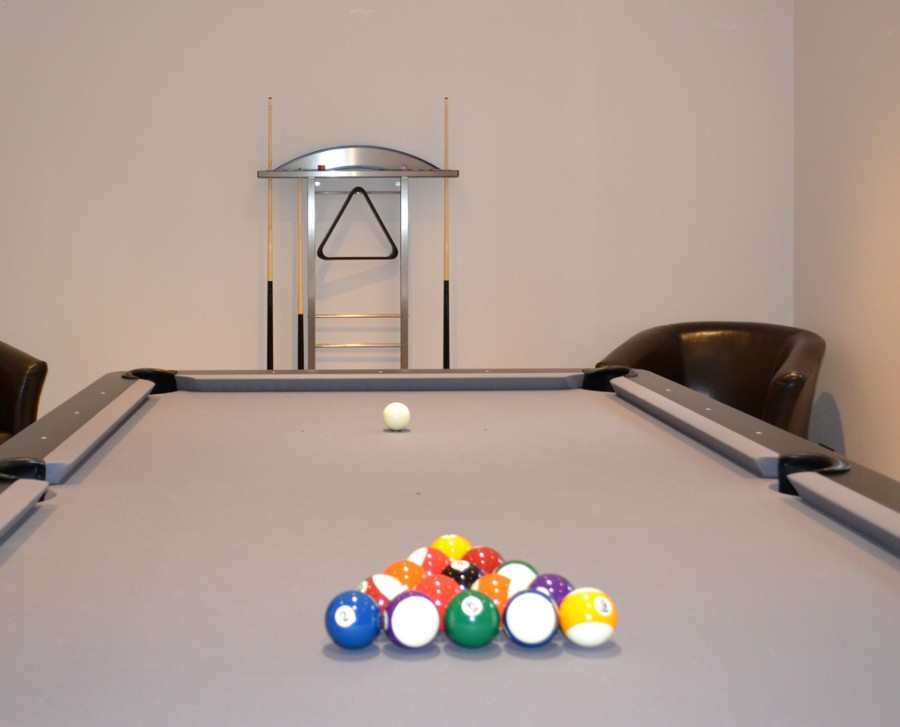 Olhausen Waterfall Pool Table in Black / Chrome with Grey Cloth