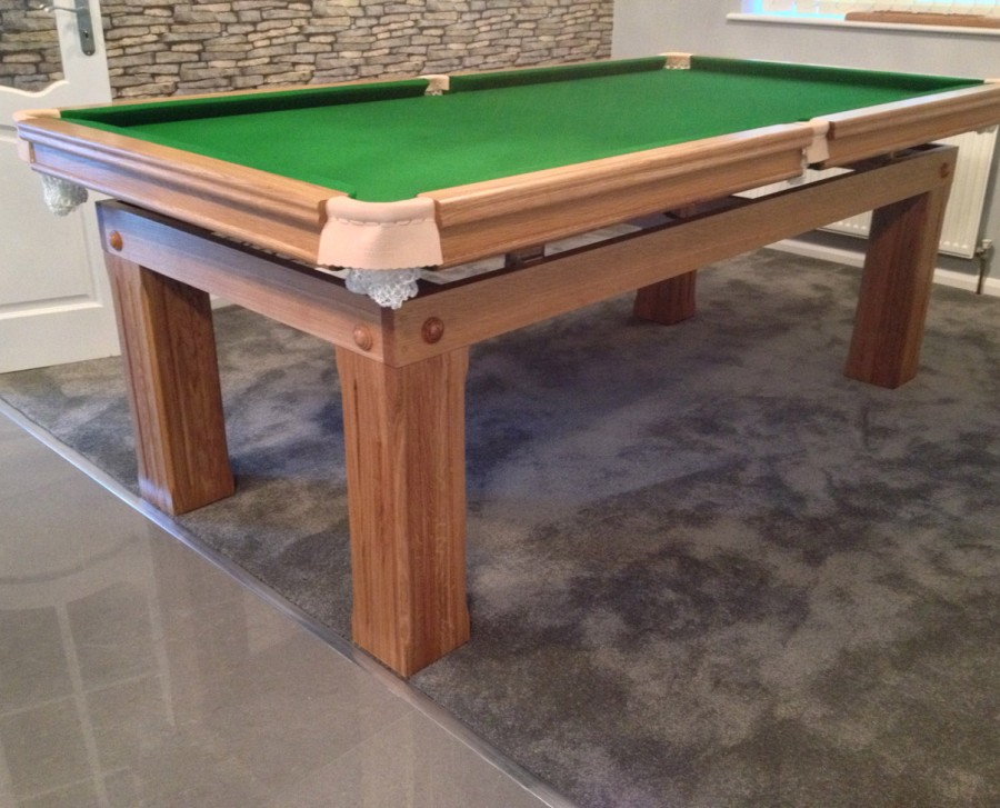 7ft Snooker Dining Table Made Of Oak With Green Cloth amp Cover
