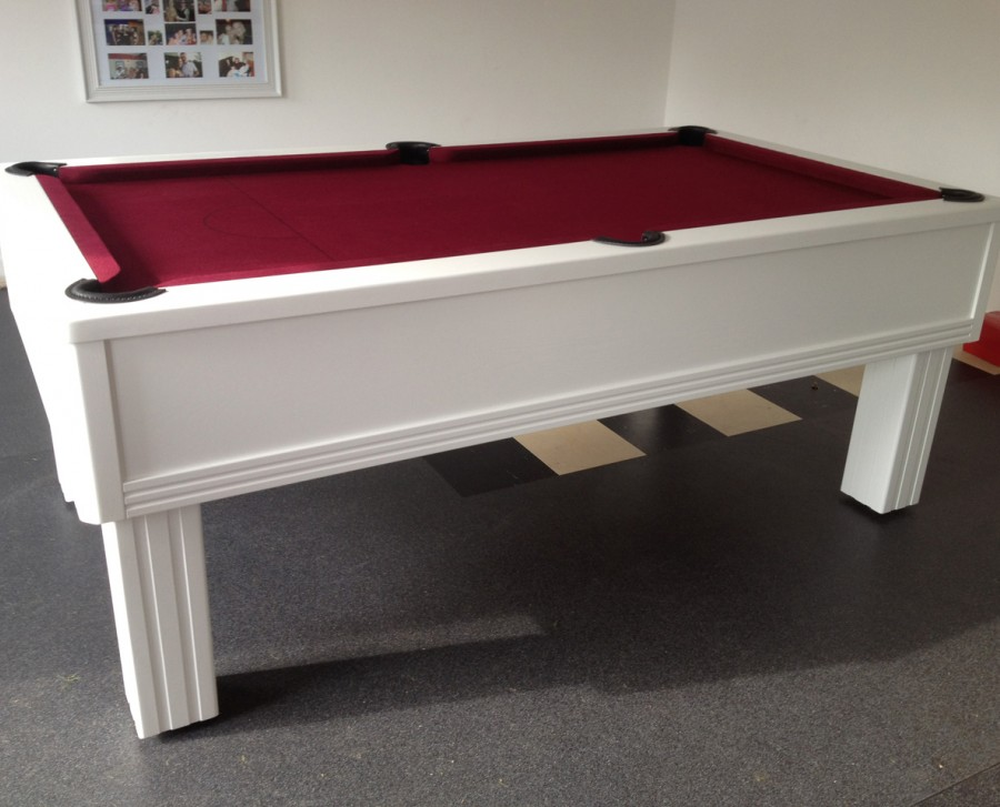 Emperor English Pool Table in White with Burgundy Cloth