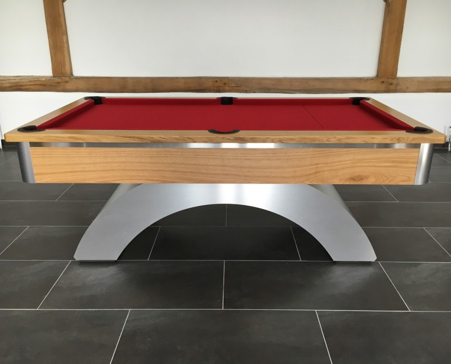 Arched-Contemporary English Pool Table - Brushed Aluminium and Oak Finish