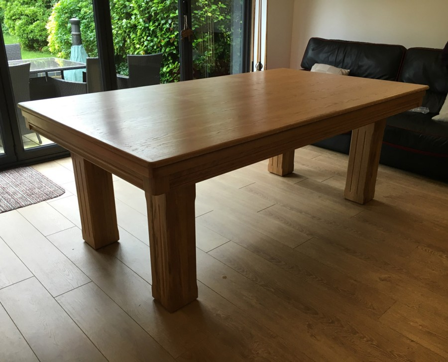 Pool Dining Table - 7ft in Oak / Red