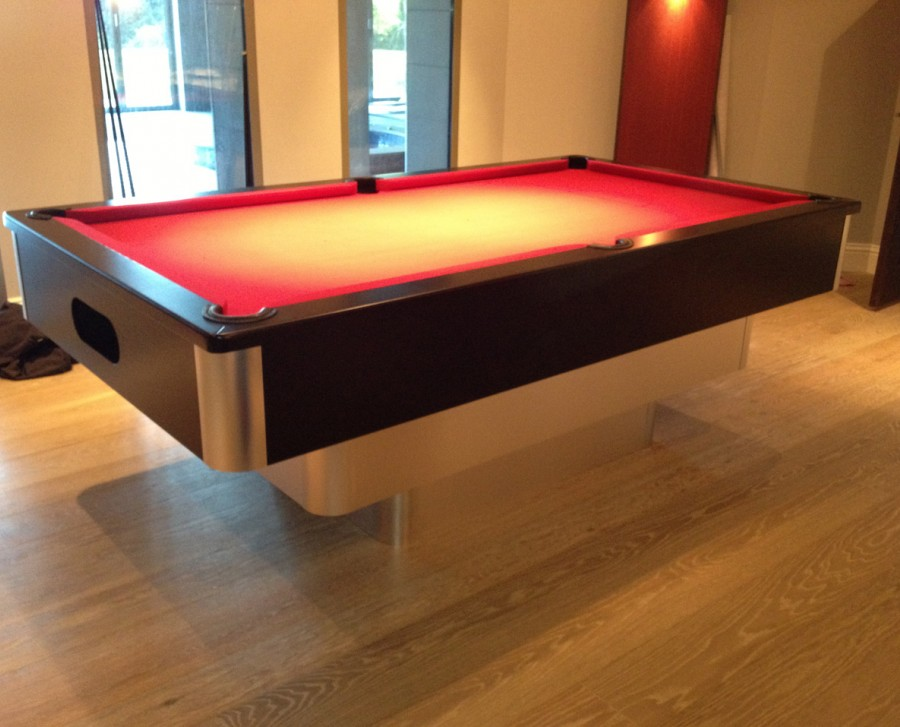 Tiered-Contemporary English Pool Table in Brushed Aluminium with Black Panels