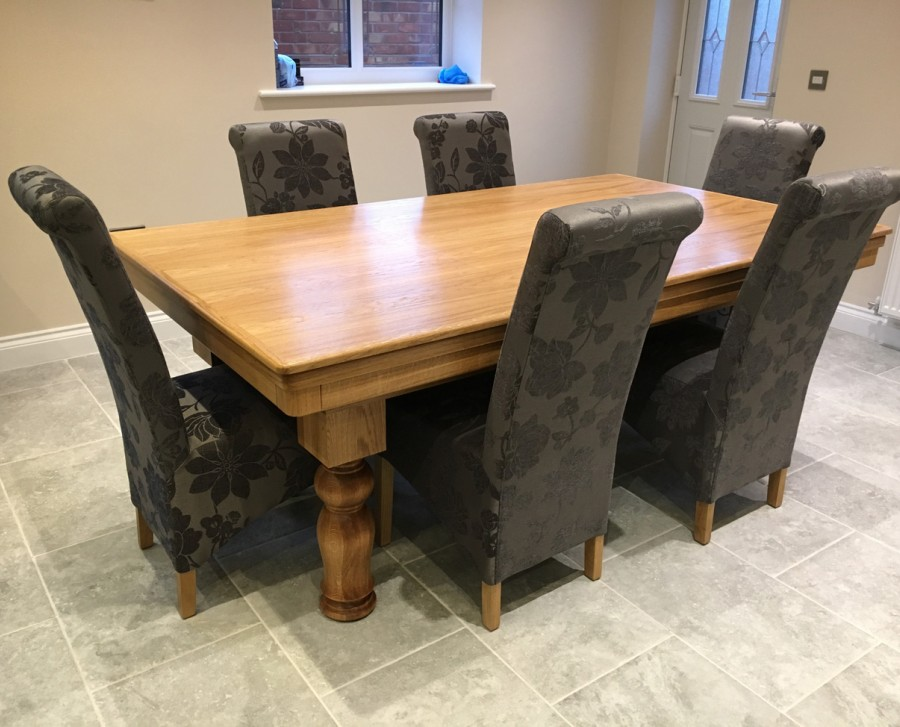 NEW-STYLE Pool Dining Table - 7ft in Oak with Tulip Leg