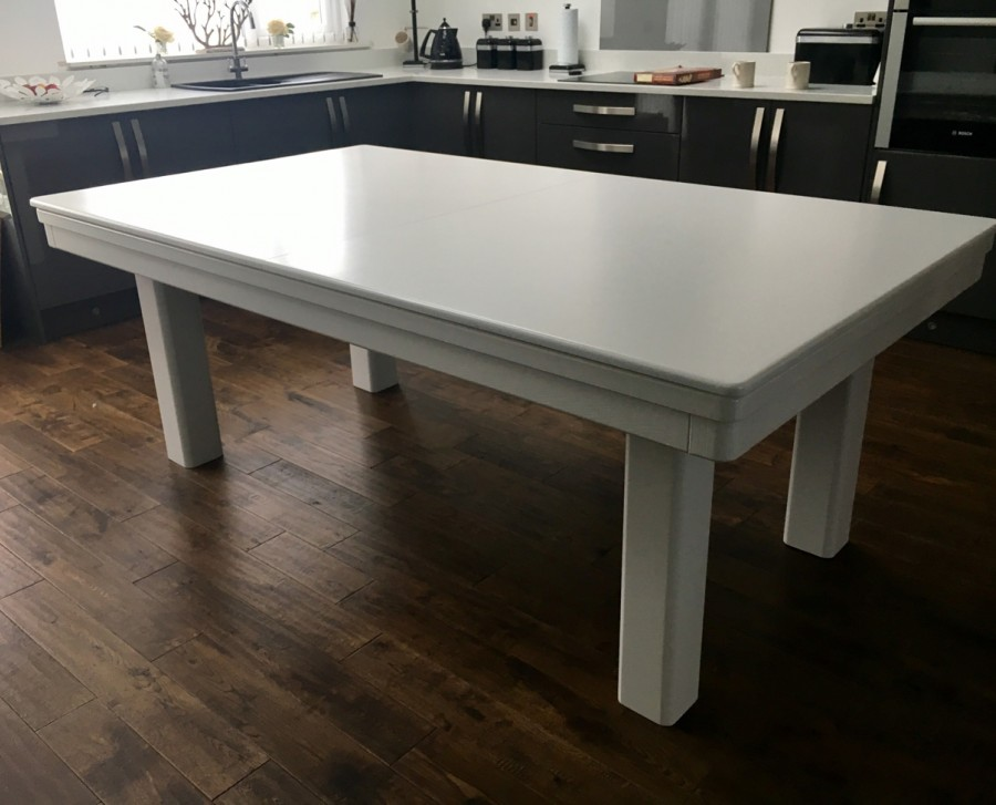 NEW-STYLE Pool Dining Table - 7ft White / Silver