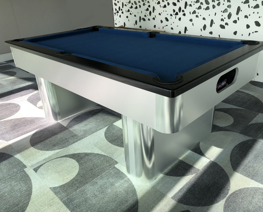 Pedestal-Contemporary English Pool Table - Black Cushion Rail and Slate Cloth