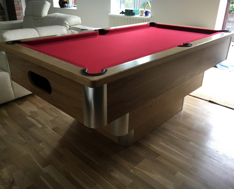 Tiered-Contemporary English Pool Table in Aluminium & Oak