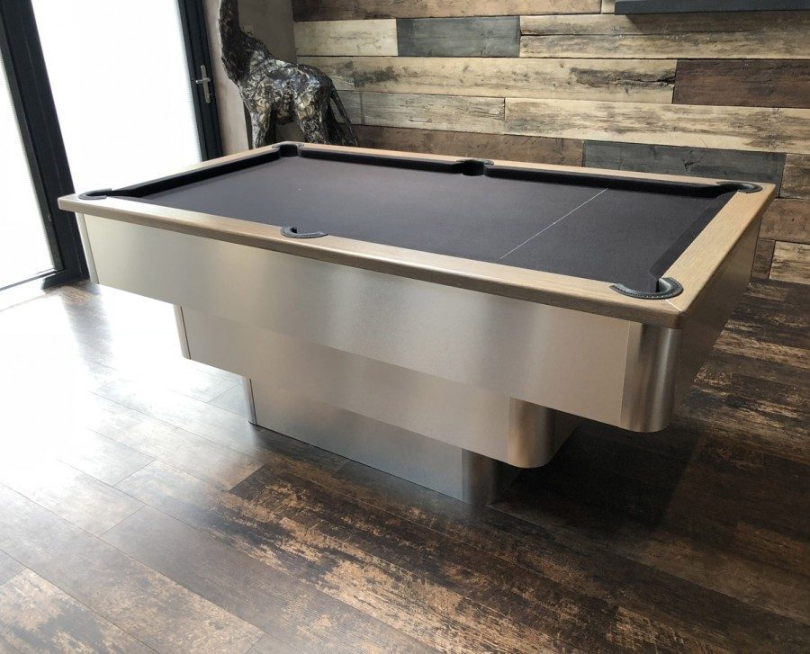 Tiered-Contemporary English Pool Table with Oak Cushion Rail with Grey Tint