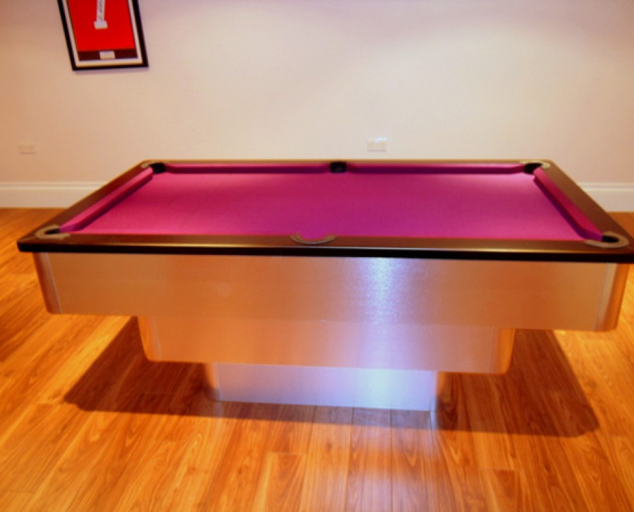 Tiered-Contemporary English Pool Table with Black Cushion / Purple Cloth