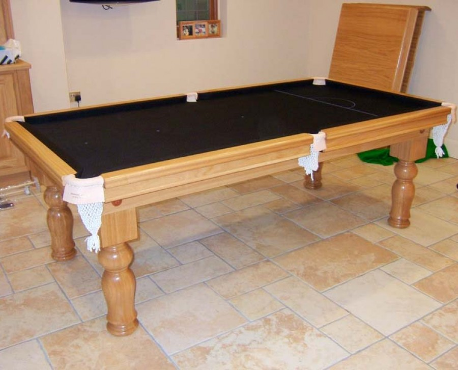 7ft oak snooker dining table with black cloth cover