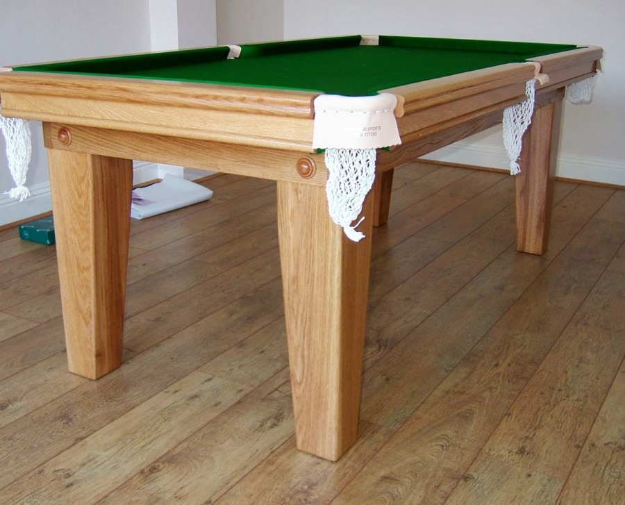 6ft Oak Snooker Dining Table with Green Cloth