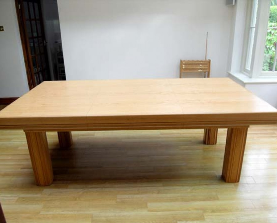 Oak 7ft Snooker Dining Table with Sage Cloth