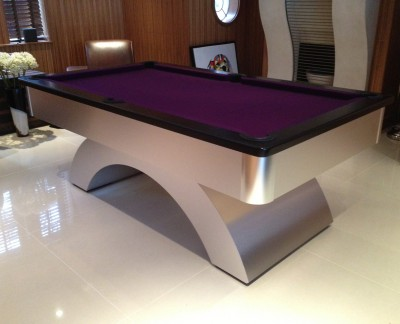 Arched English Pool Table - Black Cushion Rail and Purple Cloth