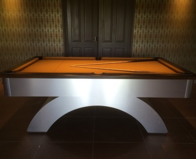 Arched-Contemporary English Pool Table in Brushed Aluminium / Dark Oak