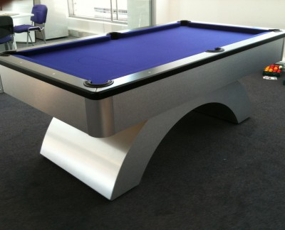 Arched-Contemporary English Pool Table - Black Cushion Rail and Blue Cloth