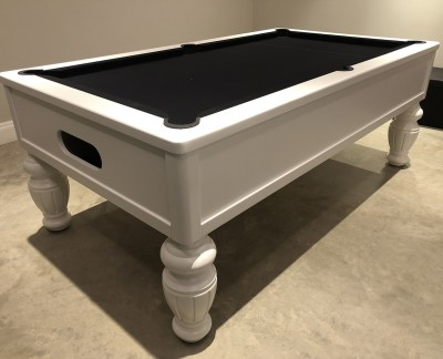 Emperor English Pool Table in White with Fluted Barrel Leg