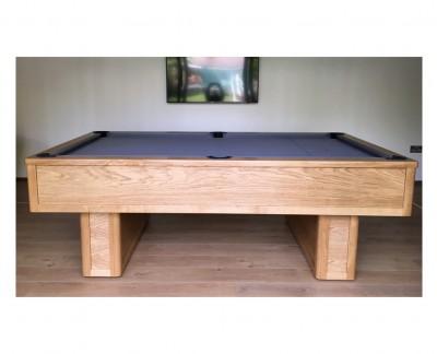 Emperor in oak with pedestal leg modern bespoke uk pool for Oak beauty pool table